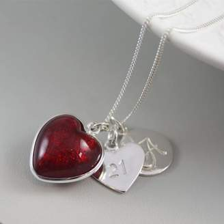 Glass Heart Claudette Worters Silver Necklace With Murano And Initial
