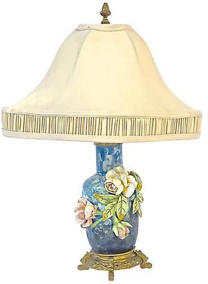 One Kings Lane Vintage French Barbotine Majolica Floral Lamp - Vermilion Designs