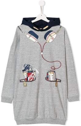 Little Marc Jacobs TEEN headphone and pocket print hoodie dress