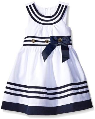 Bonnie Jean Big Girls Tween /Blue U-Neck Banded Border Nautical Resort Dress, R4-TG16-RST16,