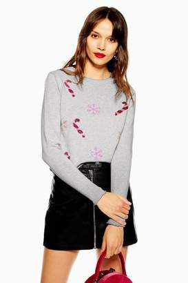 Topshop Christmas 'Candy Cane' Jumper