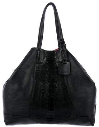 Elena Ghisellini Ostrich-Trimmed Leather Tote