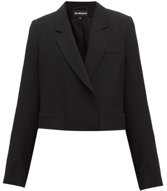 Ann Demeulemeester Cropped Tailored Crepe Jacket - Womens - Black