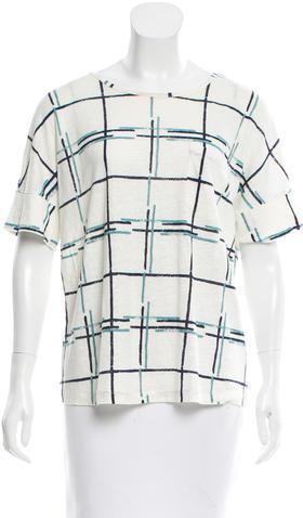Tory BurchTory Burch Plaid Print Linen T-Shirt