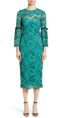 Lela Rose Lace Bell Sleeve Sheath Dress