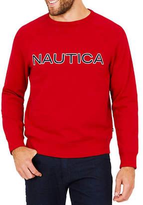 Nautica Long-Sleeve Graphic Fleece Crewneck Tee