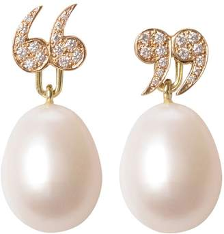 """Love Is - Diamond Encrusted """"Quote Un-Quote"""" Earrings with Pearls"""