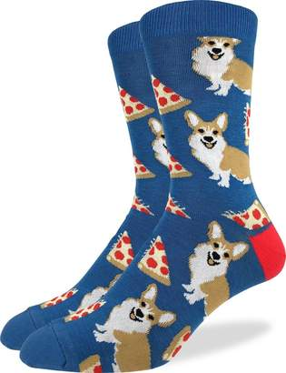 Corgi Good Luck Sock Men's Pizza Crew Socks - , Shoe Size 7-12