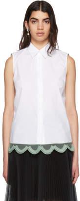 Prada White Sleeveless Poplin Shirt