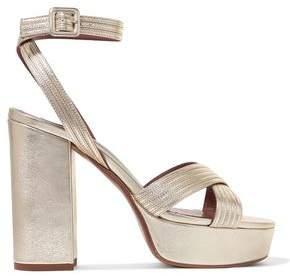Tabitha Simmons Metallic Leather Platform Sandals