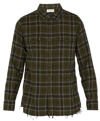 Saint Laurent Frayed Hem Plaid Cotton Shirt - Mens - Green