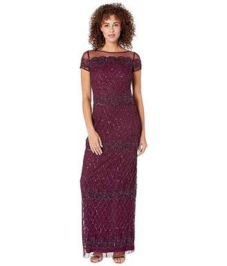 Adrianna Papell Scalloped Bead Column Evening Gown
