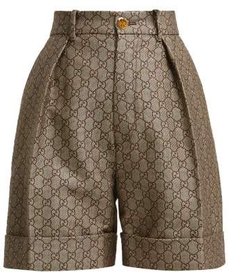 Gucci Gg High Rise Cotton And Wool Blend Shorts - Womens - Beige Multi