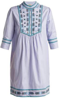Talitha - Willow Embroidered Cotton Dress - Womens - Light Blue