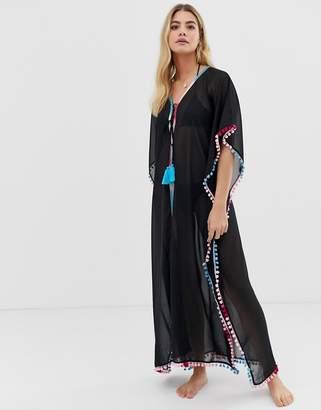 ef09ca026f144 America & Beyond pom pom lace black long beach kaftan