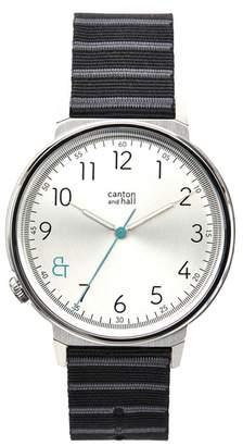 CANTON AND HALL Davis Slim Nylon Strap Watch, 44mm
