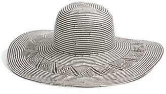 Hinge Women's Zigzag Woven Sun Hat - Black