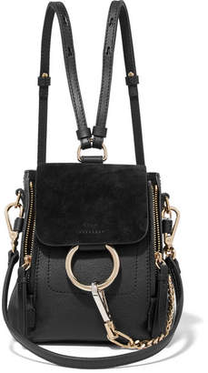 Chloé Faye Mini Textured-leather And Suede Backpack - Black