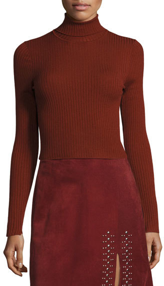 A.L.C. A.L.C. Elisa Cropped Ribbed Turtleneck Sweater, Copper