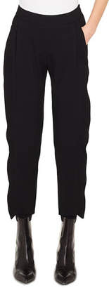 Akris Punto Straight-Leg Cropped Tricotine Wool Pants w/ Ruffled Tuxedo Detail