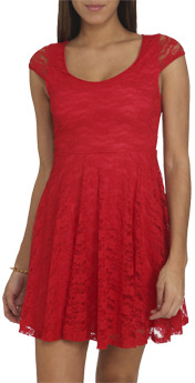 Wet Seal WetSeal Keyhole Lace Skater Dress Red
