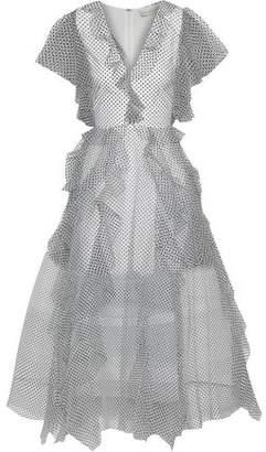 Sachin + Babi Nina Ruffled Flocked Tulle Gown
