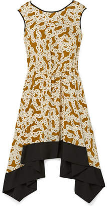 Diane von Furstenberg Asymmetric Printed Silk Crepe De Chine Dress - Cream