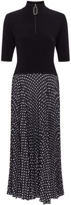 Markus Lupfer Wool Marine Polka-Dot Midi Dress