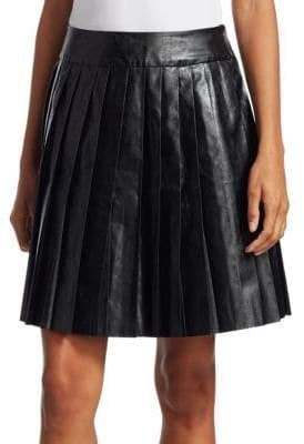 We11Done We11Done Women's Faux-Leather Pleated Mini Skirt - Black - Size 1 (S)