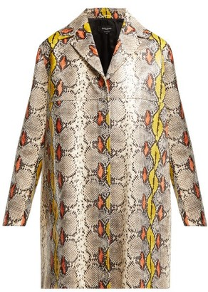 Rochas Single Breasted Python Effect Leather Coat - Womens - Multi
