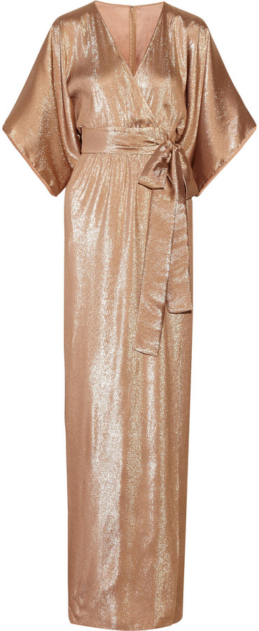 Gucci Belted Lamé Kimono-Style Gown