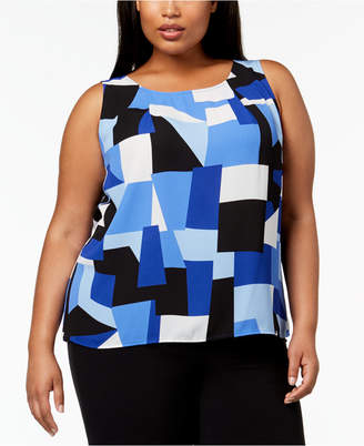 Nine West Plus Size Printed Shell
