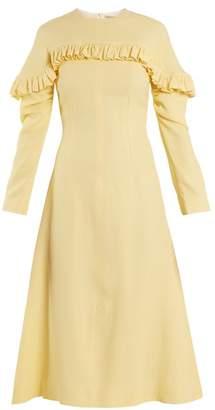 Emilia Wickstead Lala Ruffle Trimmed Honeycomb Crepe Midi Dress - Womens - Light Yellow