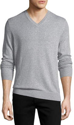 Burberry Randolf Cashmere-Cotton Sweater, Gray