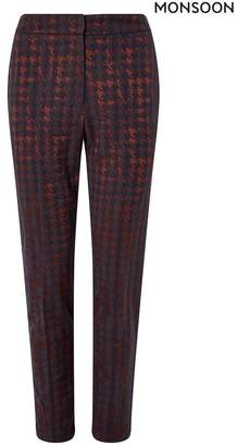 Monsoon Womens Red Harriet Houndstooth Jacquard Trousers - Red