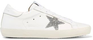 Golden Goose Deluxe Brand - Super Star Swarovski Crystal-embellished Leather Sneakers - White $655 thestylecure.com