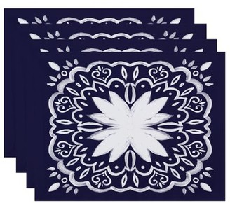 Simply Daisy, 18 x 14 inch, Cuban Tile 1, Geometric Print Placemat (Set of 4), Navy Blue