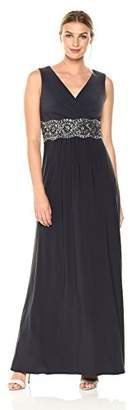 Alex Evenings Women's Long Fit and Flare Dress with Embellished Waist