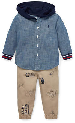 Ralph Lauren Baby Boy's Two-Piece Cotton Oxford Shirt Pants Set