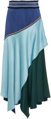 Peter Pilotto Color-Blocked Satin Midi Skirt