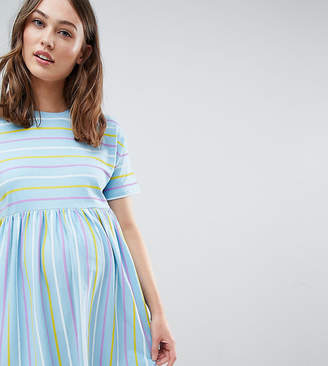 Asos DESIGN Maternity smock dress in cut about stripe