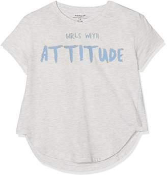 Name It Girl's Nkfhennah Ss Top T-Shirt, (Light Grey Melange)