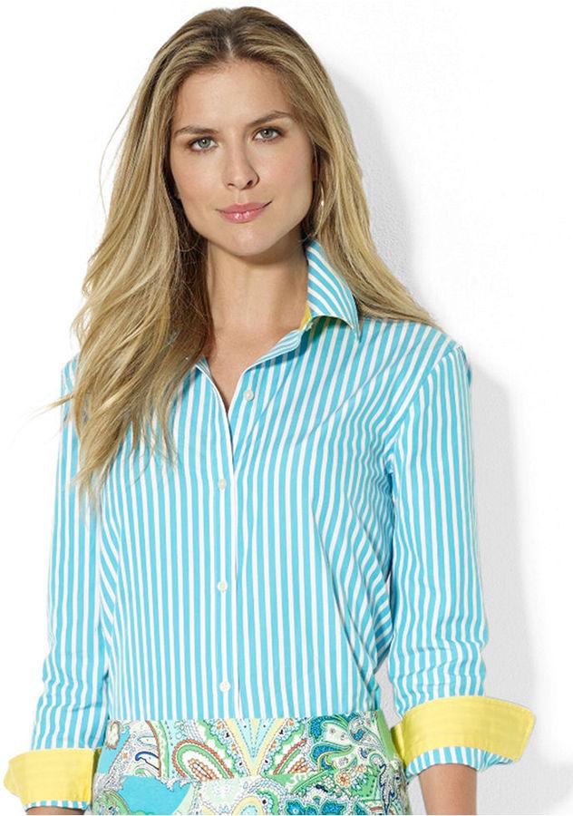 Lauren Ralph Lauren Contrast-Cuff Striped Shirt