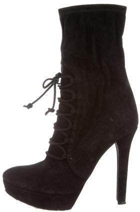 Miu MiuMiu Miu Lace-Up Mid-Calf Boots