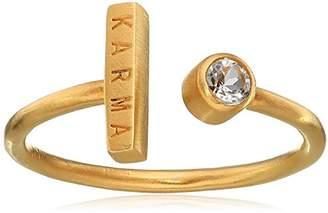 Satya Jewelry Classics White Topaz Plate Karma Adjustable Ring