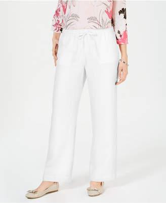 Charter Club Petite Linen Drawstring Pants