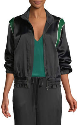 Frame Zip-Front Piped Satin Bomber Jacket