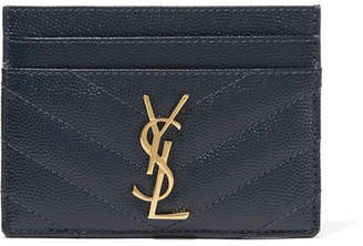Saint Laurent Quilted Textured-leather Cardholder - Navy