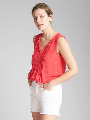 Gap Sleeveless Eyelet Smock Top