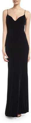 Brandon Maxwell Sweetheart-Neck Sleeveless Thin-Strap Velvet Evening Gown